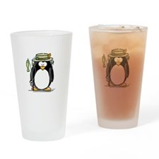 Fishing penguin Drinking Glass