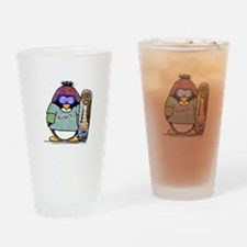 SnowBoard Penguin Drinking Glass