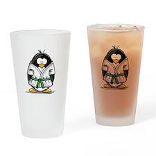 Martial Arts green belt pengu Drinking Glass