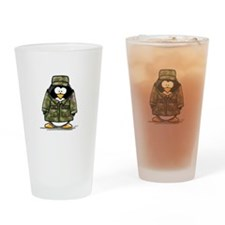US Military Penguin Drinking Glass