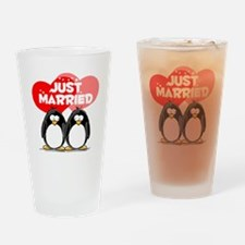 Just Married Penguins Drinking Glass