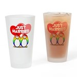 Just Married Rainbow Penguins Drinking Glass