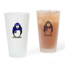 Blue Scarf Penguin Drinking Glass