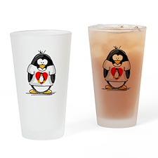 Heart tux Penguin Drinking Glass