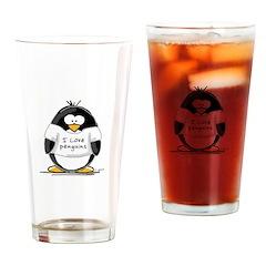 I Love Penguins penguin Drinking Glass