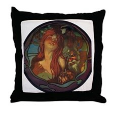 Redhead and Faun Art Nouveau Throw Pillow
