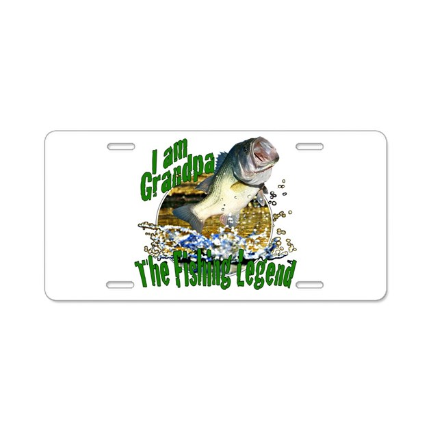 Grandpa the bass fishing legend aluminum license p by for Bass pro shop fishing license