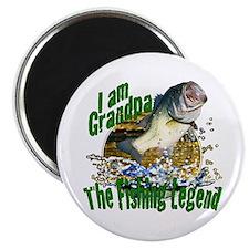 "Grandpa the Bass fishing legend 2.25"" Magnet (10 p"