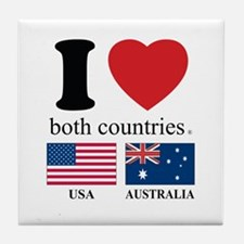 USA-AUSTRALIA Tile Coaster