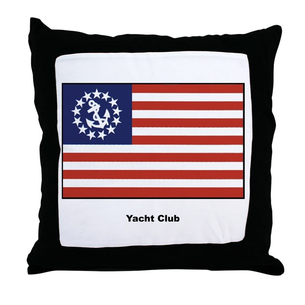 Yacht Club Flag Throw Pillow by w2arts