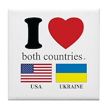 USA-UKRAINE Tile Coaster