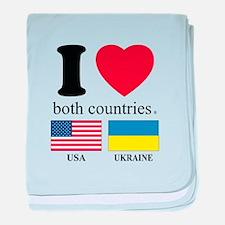 USA-UKRAINE baby blanket