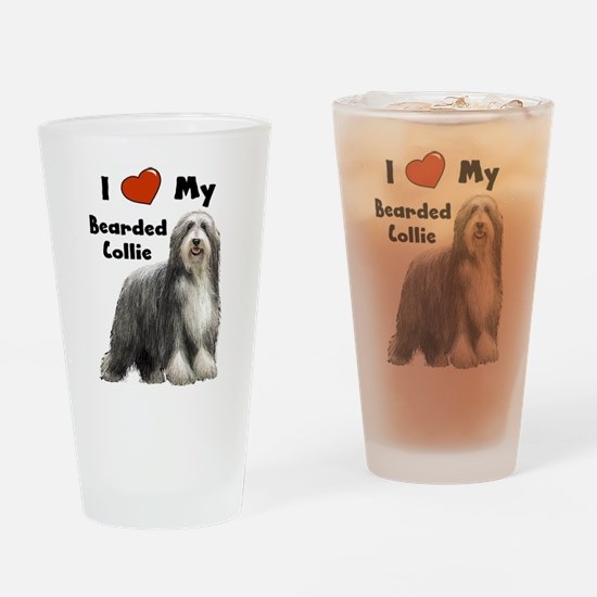 I Love My Bearded Collie Drinking Glass
