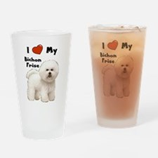 I Love My Bichon Frise Drinking Glass