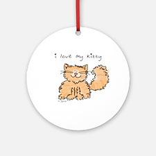 Love My Kitty (orange) Ornament (Round)