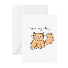 Love My Kitty (orange) Greeting Cards (Package of
