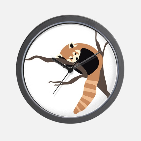 Sleepy Red Panda Wall Clock