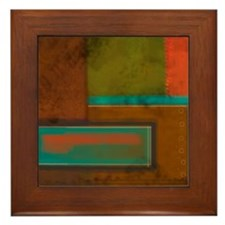 Abstract Brown Rectangles Framed Tile