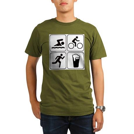 Swim Bike Run Drink Organic Men's T-Shirt (dark)