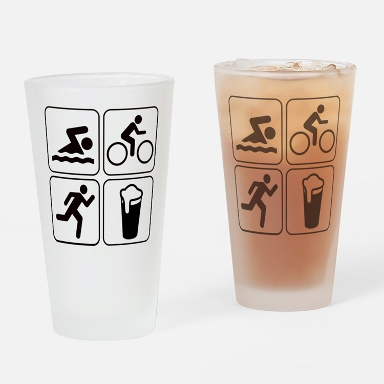 Swim Bike Run Drink Drinking Glass
