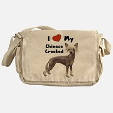 I Love My Chinese Crested Messenger Bag