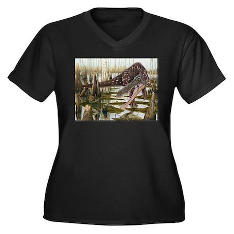 Baryonyx Women's Plus Size V-Neck Dark T-Shirt