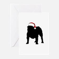 Bulldog Christmas Hat Greeting Cards (Pk of 10)