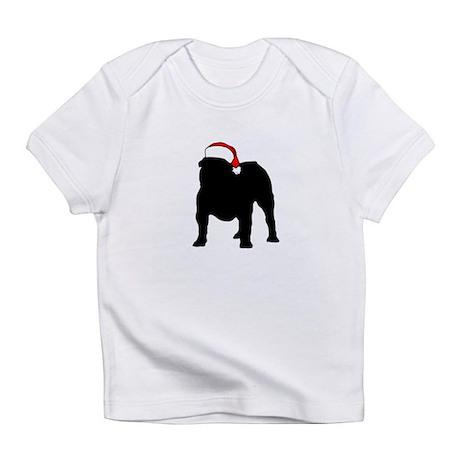 Bulldog Christmas Hat Infant T-Shirt