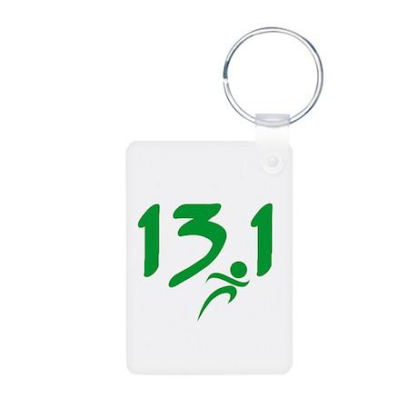 Green 13.1 half-marathon Aluminum Photo Keychain
