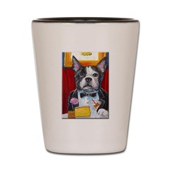 French Bulldog at Dinner Shot Glass