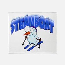 Steamboat Snowman Skier Throw Blanket