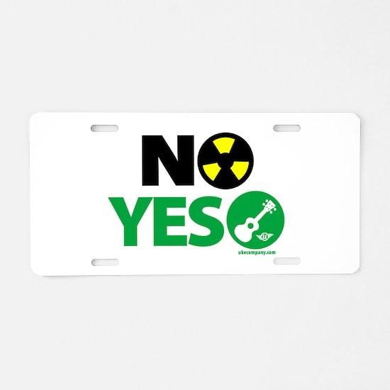 No Nukes, Yes Ukes Aluminum License Plate