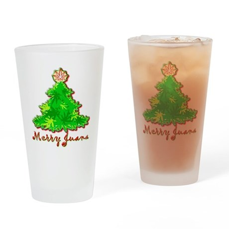 Funny Marijuana Christmas Drinking Glass