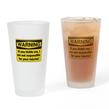 Warning Tickle Me Drinking Glass