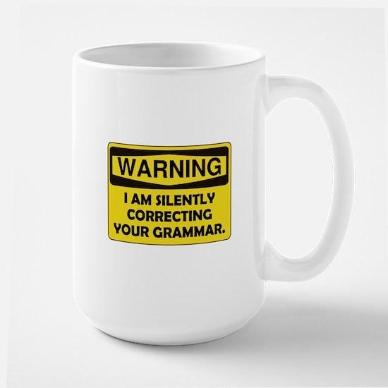 Warning Grammar Large Mug