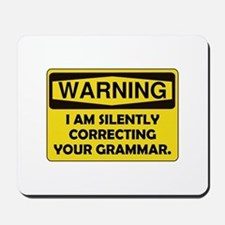 Warning Grammar Mousepad