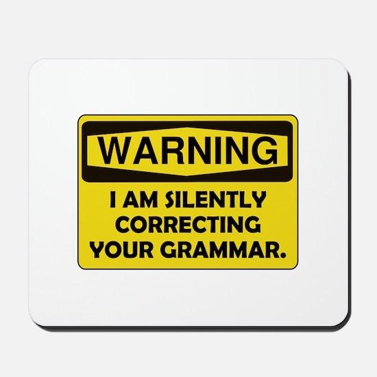 Warning Grammar Mousepad