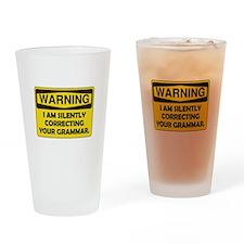 Warning Grammar Drinking Glass