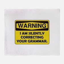 Warning Grammar Throw Blanket