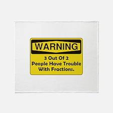 Warning Fraction Throw Blanket