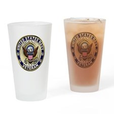USN Blue and Gold Veteran Drinking Glass
