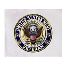 USN Blue and Gold Veteran Throw Blanket