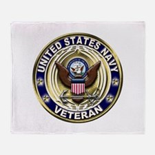 USN Blue and Gold Veteran Throw Blanket