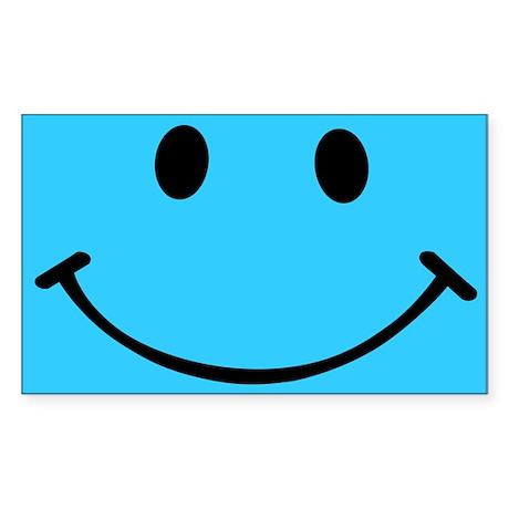 Smiley Sky Blue Sticker (Rectangle)