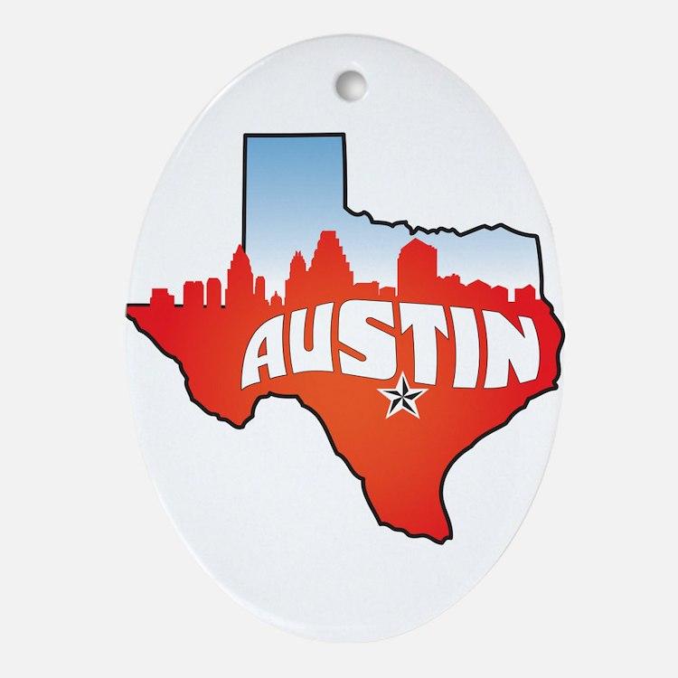 Austin Texas Skyline Ornament (Oval)