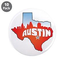 "Austin Texas Skyline 3.5"" Button (10 pack)"