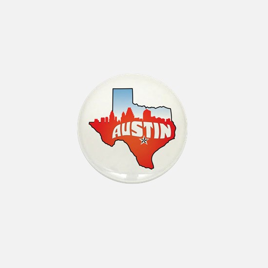 Austin Texas Skyline Mini Button