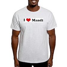 I Love Mandi Ash Grey T-Shirt