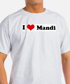 I Love Mandi Ash Grey T-Shirt
