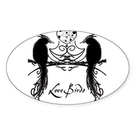 Love Birds Sticker (Oval)